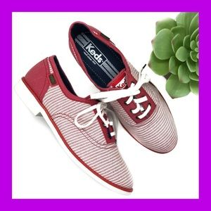 KEDS Red & White Striped Oxford Style Sneaker 7
